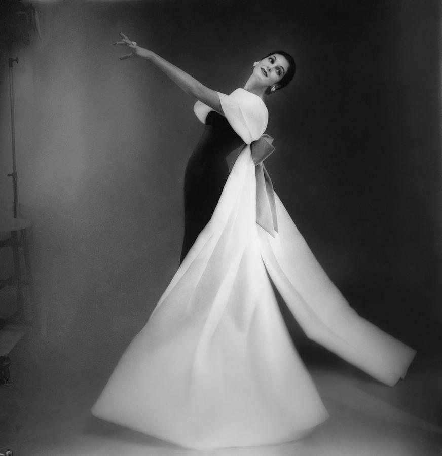 Model Carmen Dellorefice In Black And White Ball Dress Photograph by Roger Prigent
