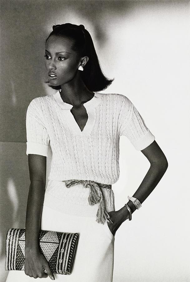 Model Iman In A Pierre Cardin Pullover and Skirt  Drawing by Kourken Pakchanian