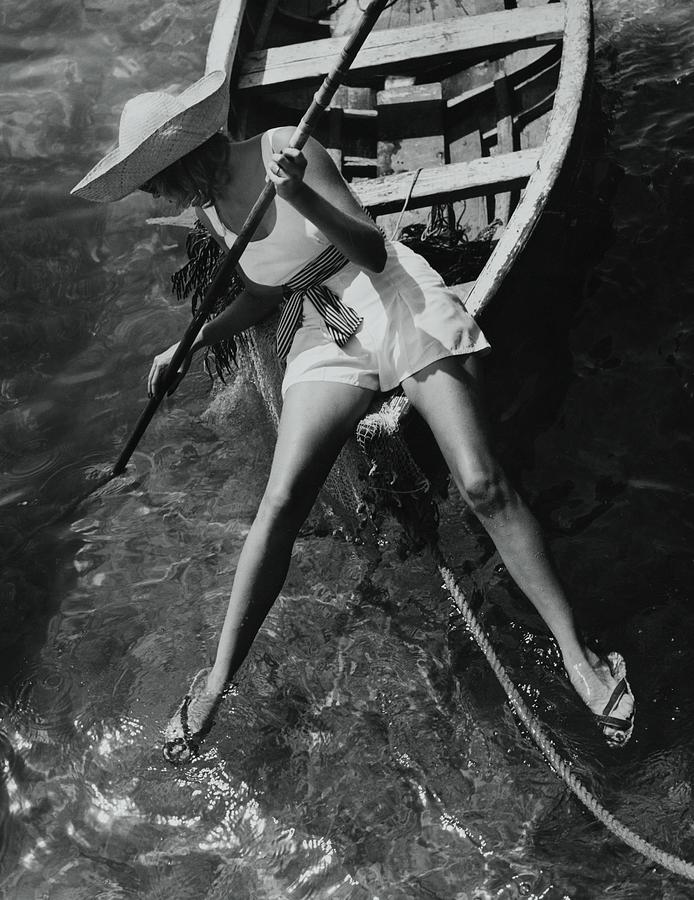 Accessories Photograph - Model in a Rowboat by Toni Frissell