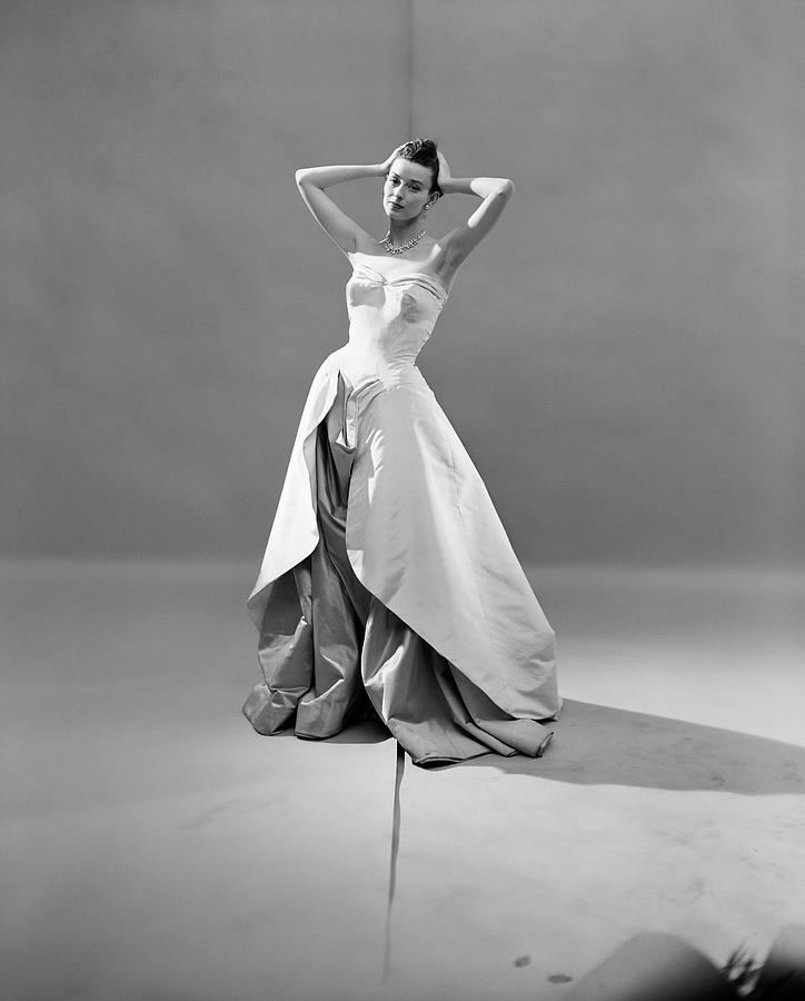 Model in Charles James Strapless Evening Dress Photograph by Cecil Beaton