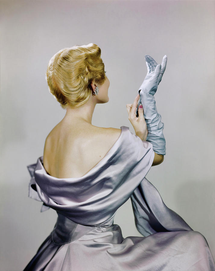 Model In Mark Mooring Dress And Shawl Photograph by Erwin Blumenfeld