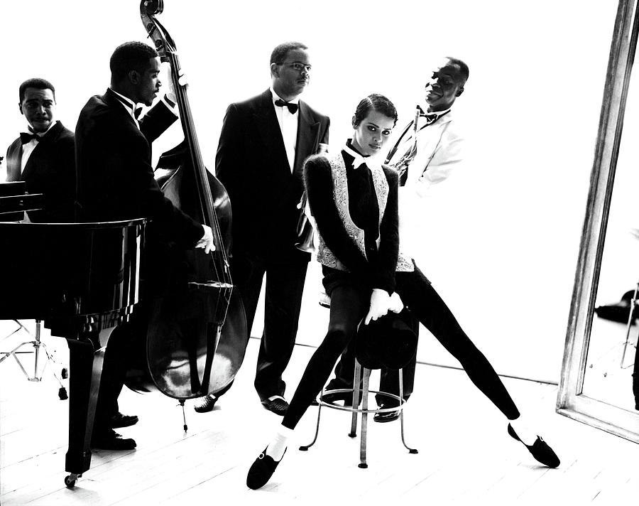 Model Nadege du Bospertus With Terence Blanchard And His Jazz Band Photograph by Arthur Elgort
