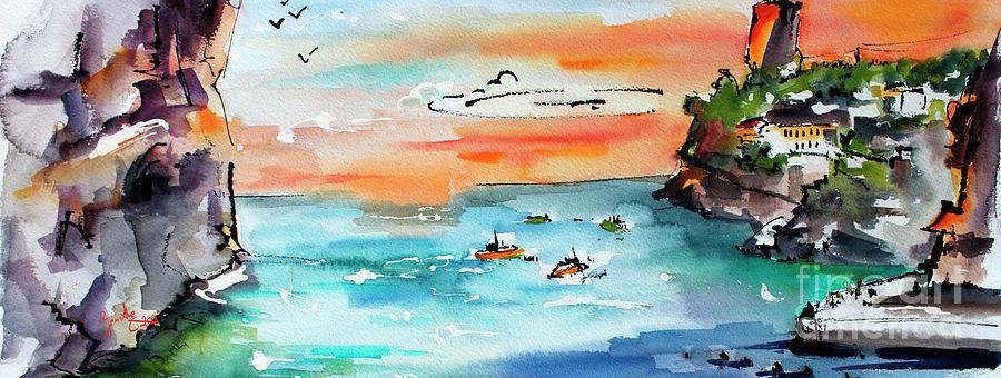 Modern Amalfi Coast Small Cove Panorama Painting by Ginette Callaway