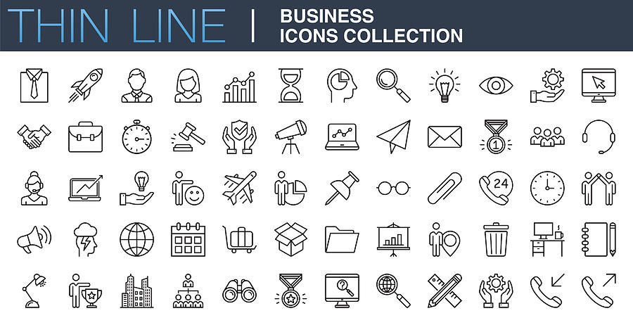 Modern Business Icons Collection Drawing by Phototechno