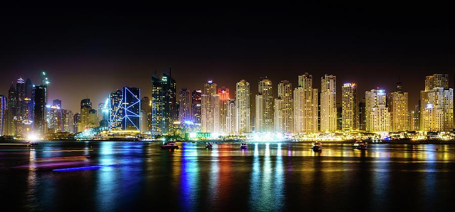 Modern City Skyline At Night Photograph