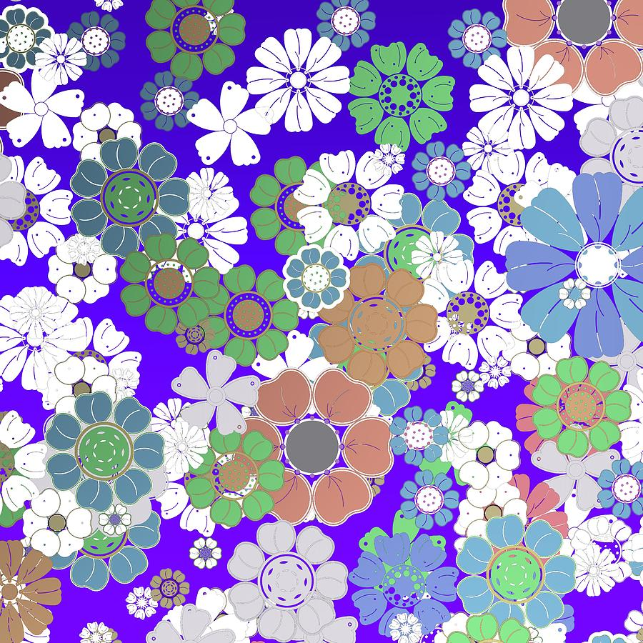 mODERN FLOWERS OVER BLUE Digital Art