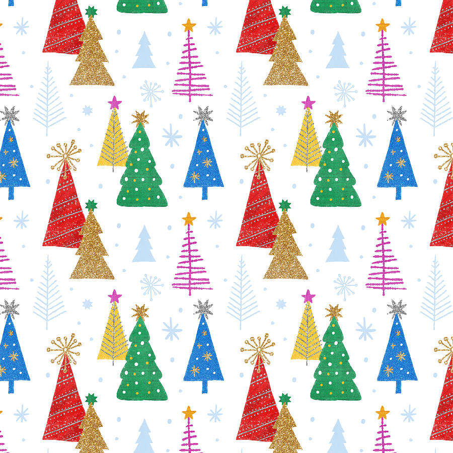 Trees Painting - Modern Holiday and Christmas Tree Pattern - Art by Jen Montgomery by Jen Montgomery