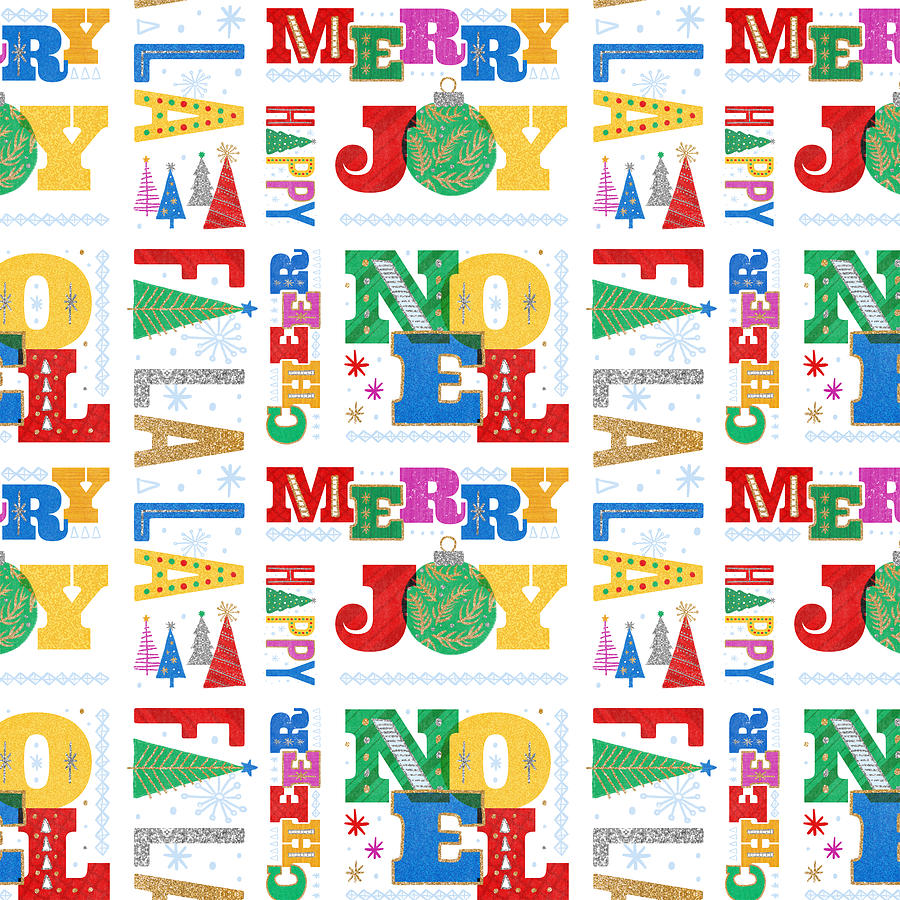Rainbow Painting - Modern Holiday Typography Pattern - Art by Jen Montgomery by Jen Montgomery