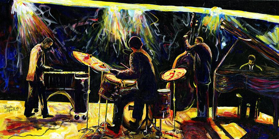 Cubism Painting - Modern Jazz Quartet Take2 by Everett Spruill
