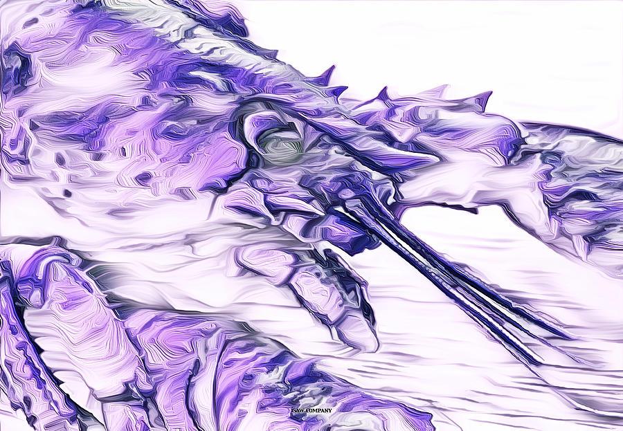 Modern Lobster Purple Digital Art