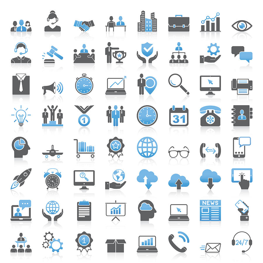 Modern Universal Business Icons Collection Drawing by Phototechno