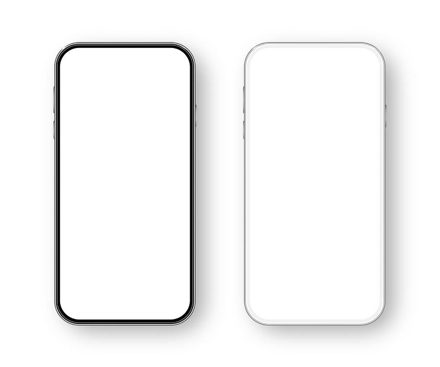 Modern White and Black Smartphone. Mobile phone Template. Telephone. Realistic vector illustration of Digital devices Drawing by Mikimad
