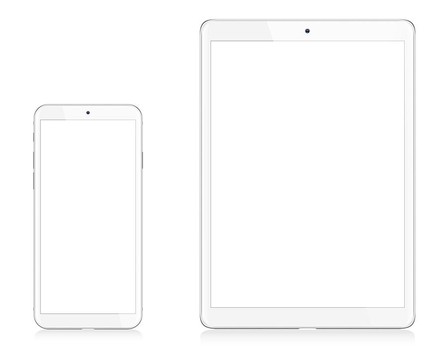 Modern White Digital Tablet and Smart Phone Drawing by Loops7