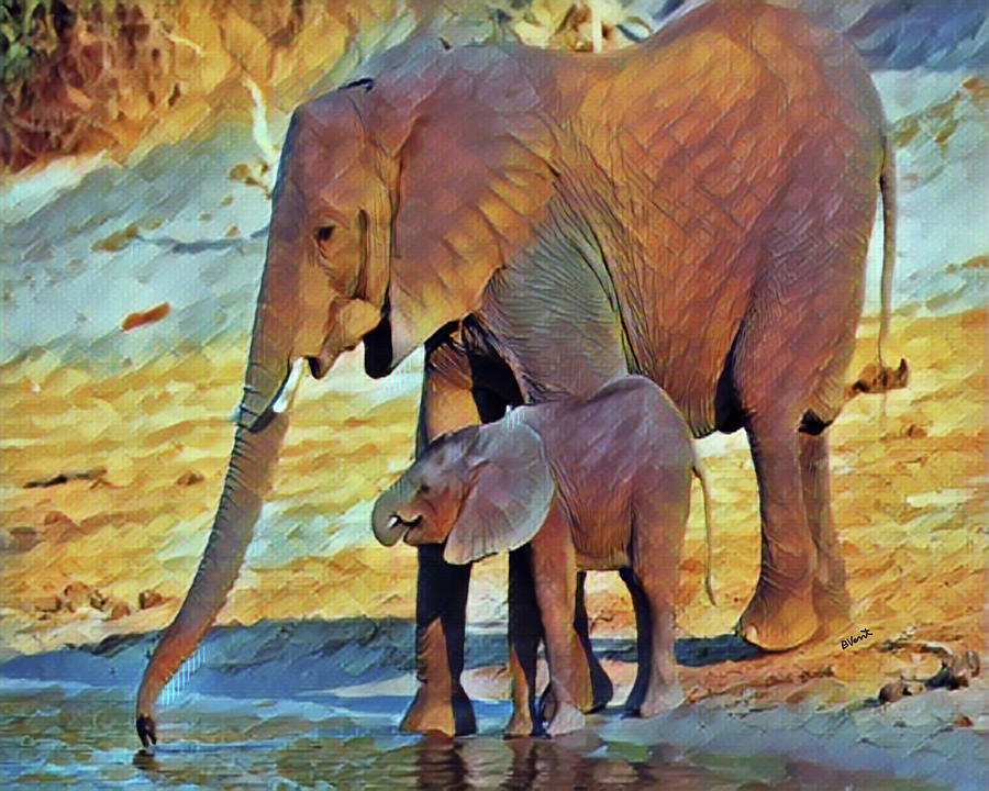 Elephant Digital Art - Mom and Baby African Elephants by Bonnie Vent