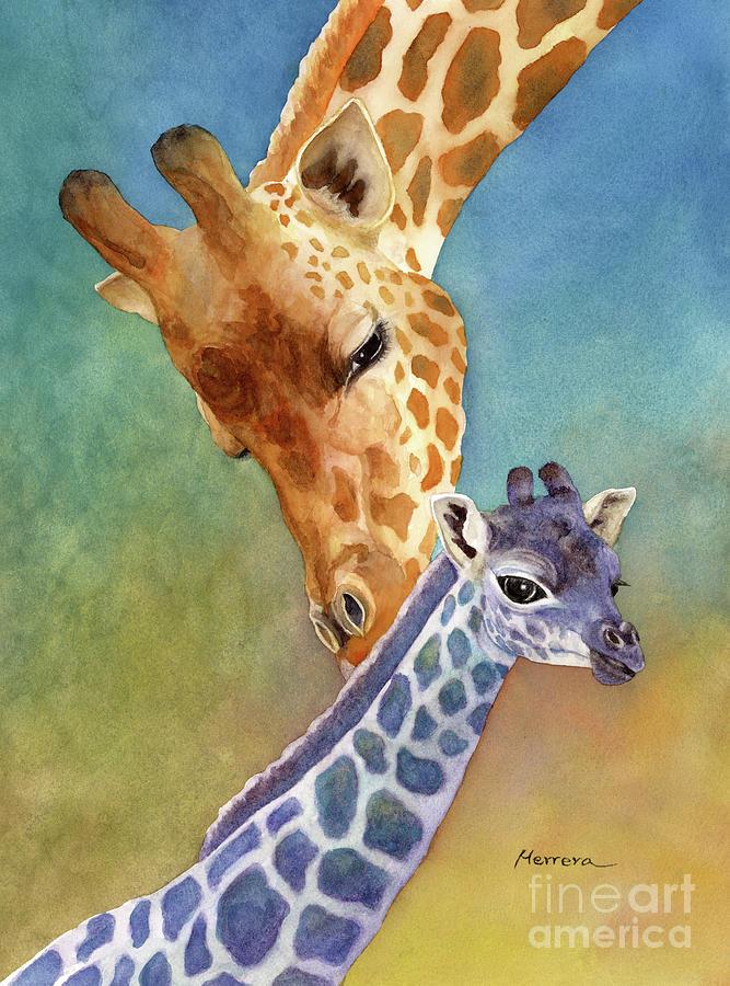 Mom And Baby Giraffe Painting