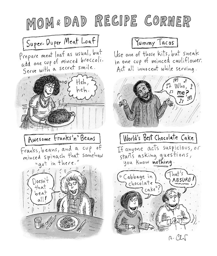Mom And Dad Recipe Corner Drawing by Roz Chast