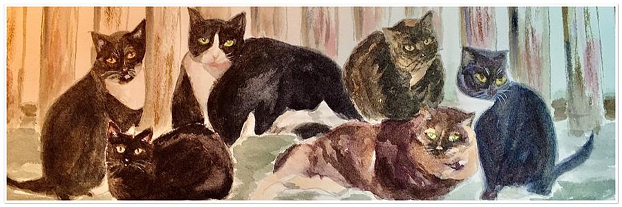 Moms Cats Wide Painting