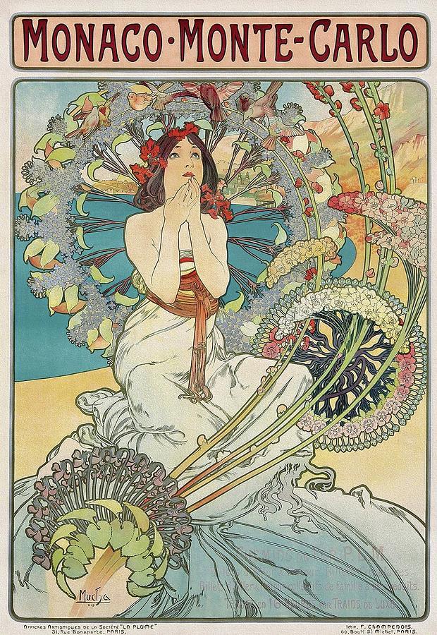 Mucha Painting - Monaco Monte Carlo 1897 Mucha  Art Nouveau Poster by Alphonse Mucha