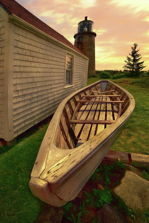 Monhegan Island Lighthouse And Rowboat Photograph
