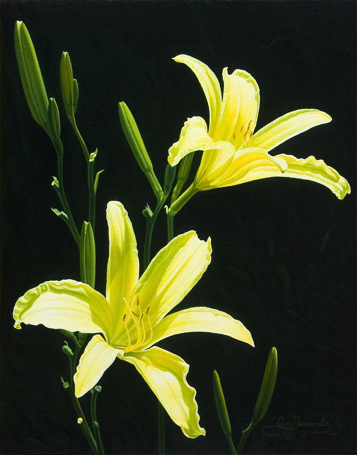 Floral Painting - Monikas Yellow Lilies by Gary  Hernandez