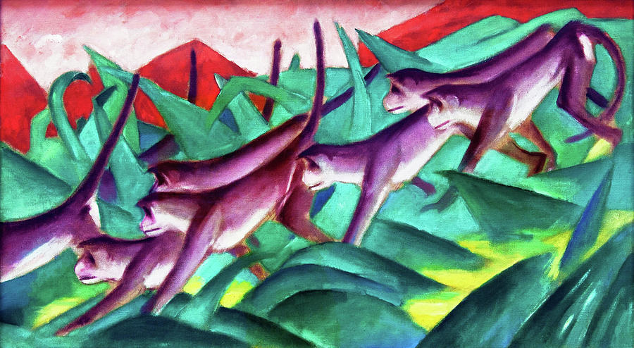 Franz Marc Painting - Monkey Frieze - Digital Remastered Edition by Franz Marc