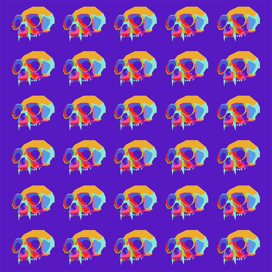 Monkey Skull Pattern Wpap Style Blue Background Digital Art