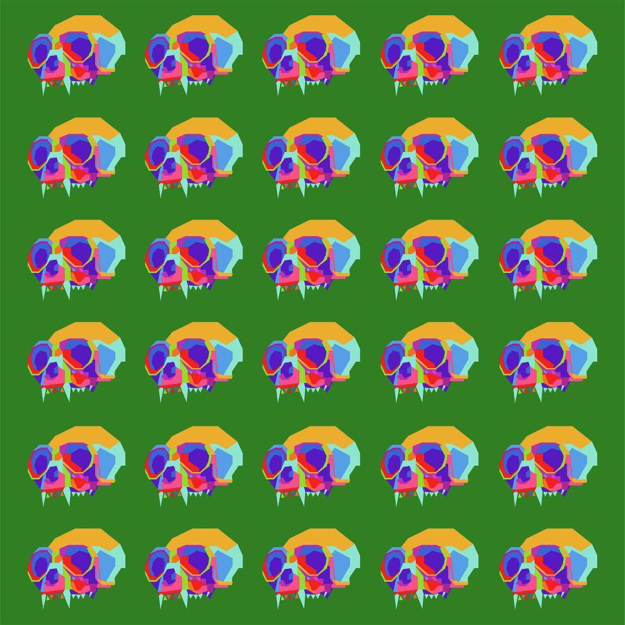 Monkey Skull Pattern Wpap Style Green Background Digital Art