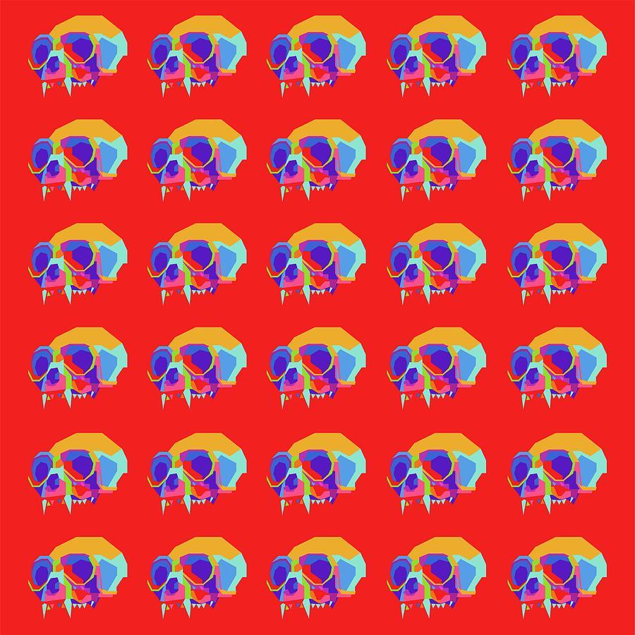 Monkey Skull Pattern Wpap Style Red Background Digital Art