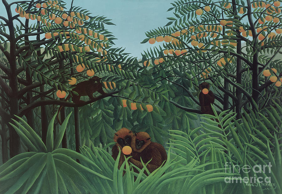 Monkeys in the Jungle, 1910 Painting by Henri Rousseau