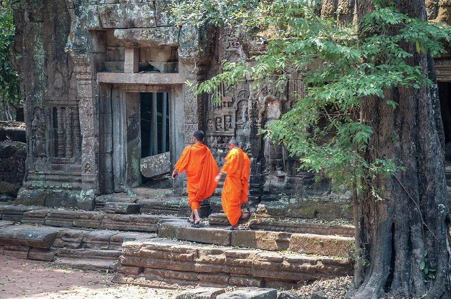 Monks At Angkor Wat Photograph