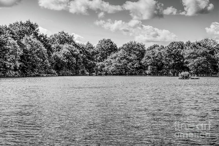 Monochrome Fishing Lake, Alkington Woods, Manchester, Uk Photograph