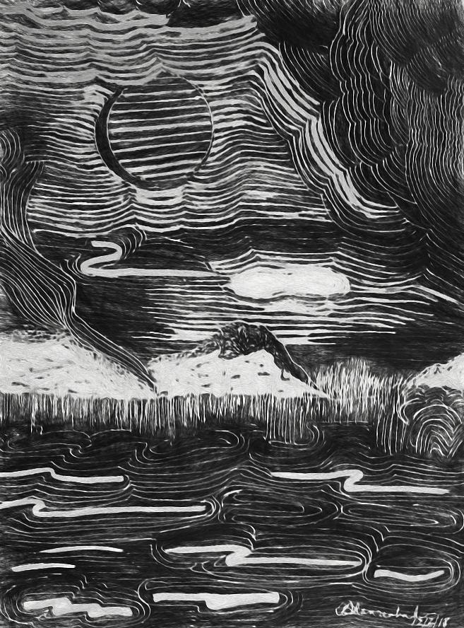 Monochrome Inked Landscape Drawing