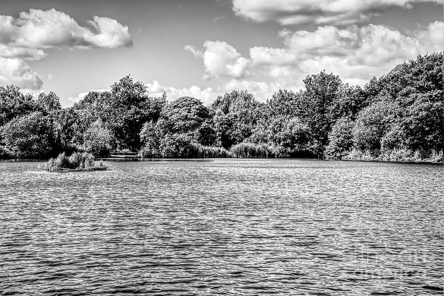 Monochrome Of Clouds Over Alkington Woods Fishing Lake Photograph