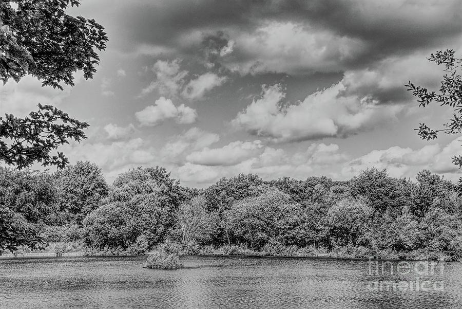 Monochrome View Over A Lake Photograph