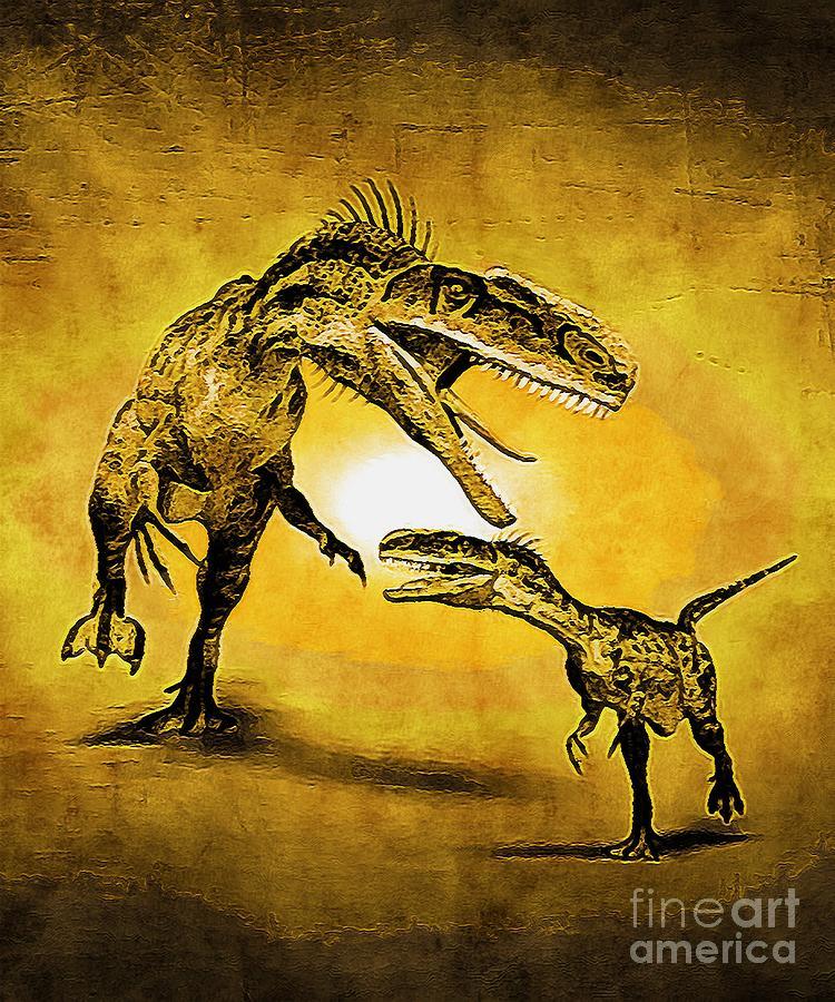 Monolophosaurus Dinosaur With A Yellow Effect Digital Art