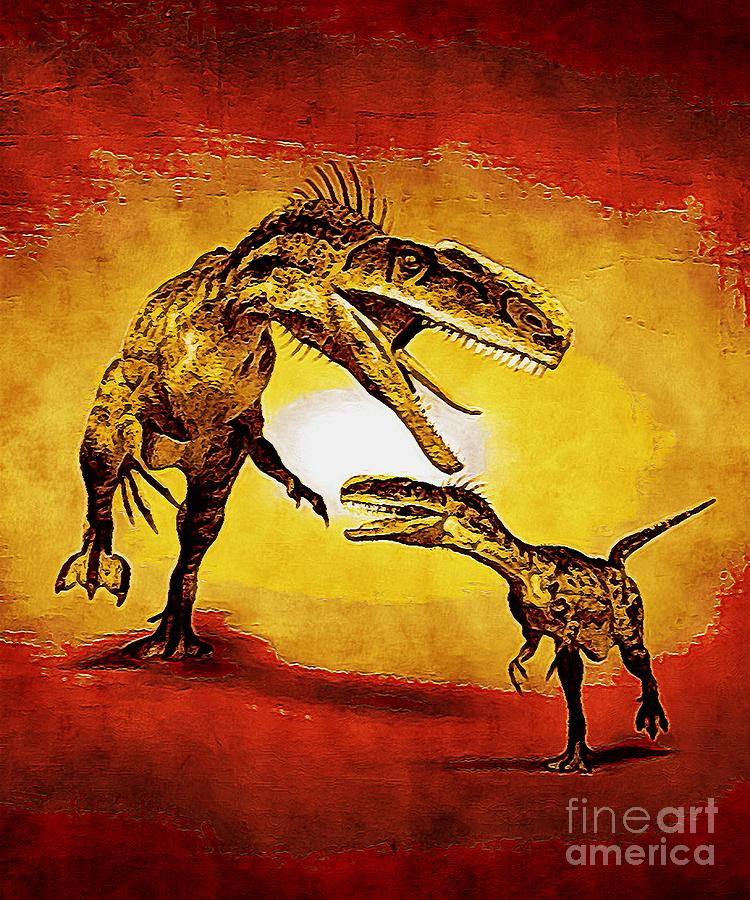 Monolophosaurus Dinosaur With Red And Yellow Effect Digital Art