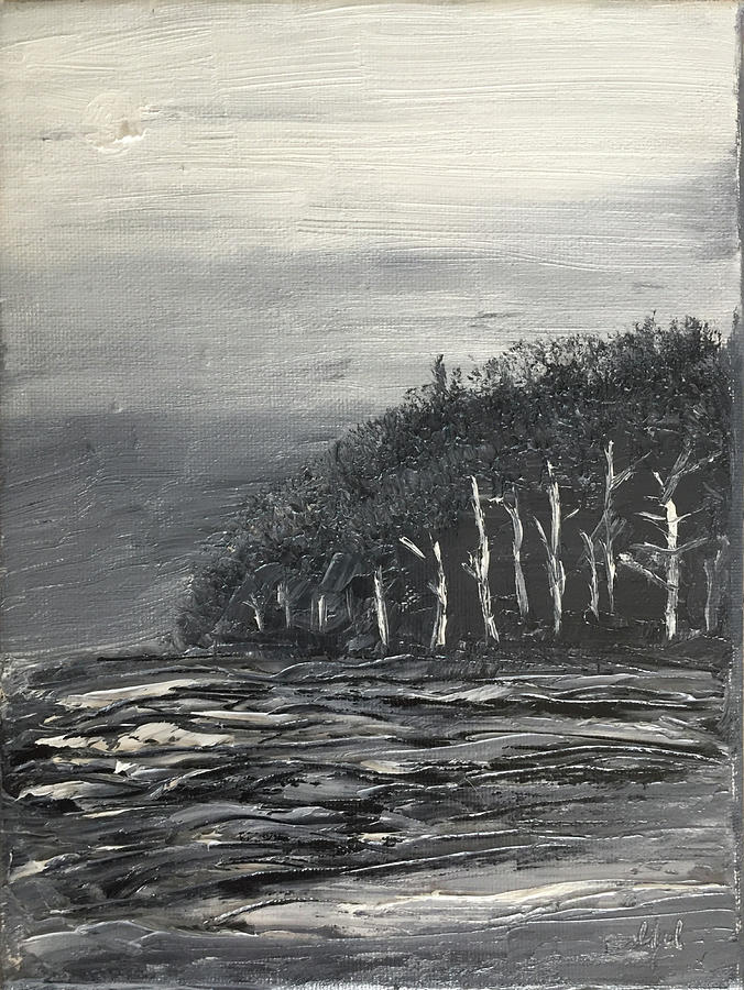 An Abstract Landscape Painting In Black And White. Painting