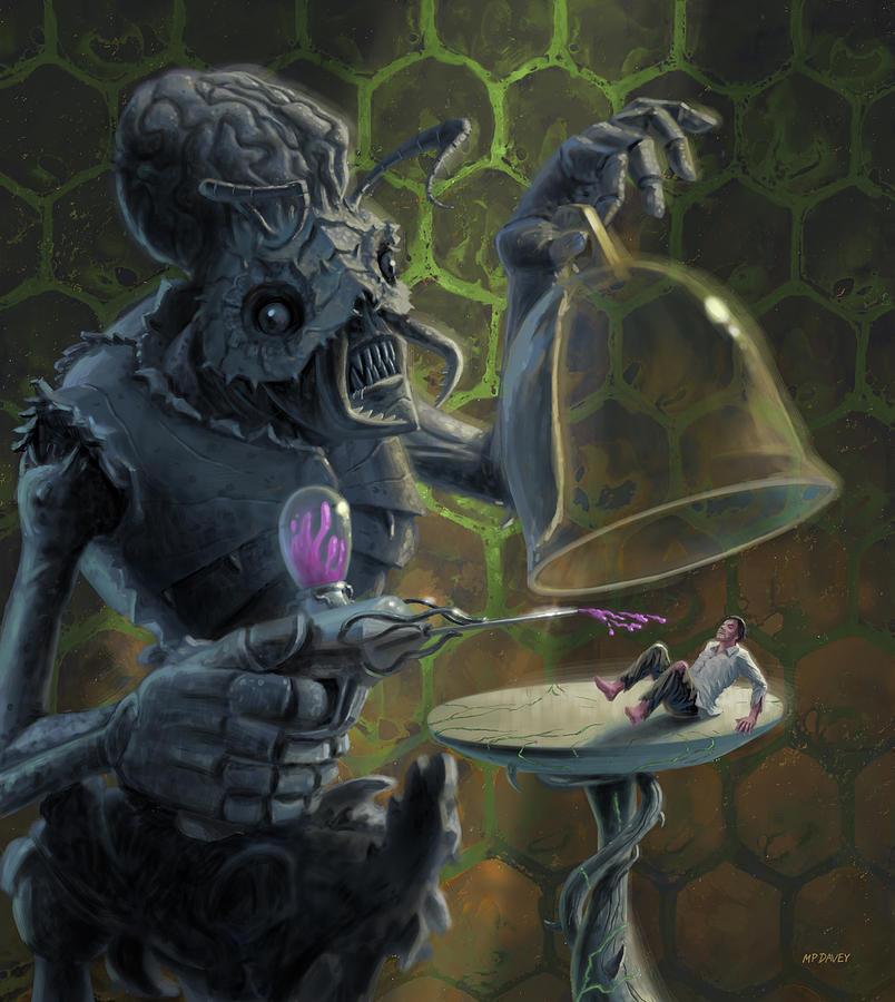 Alien Digital Art - Monster alien experimentation with human specimen  by Martin Davey