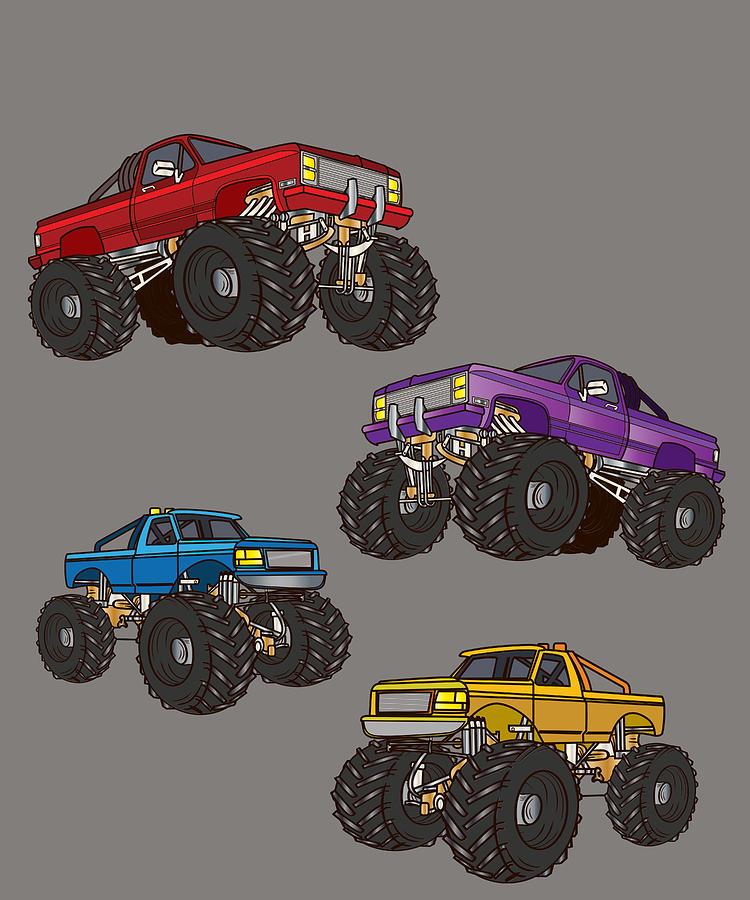 Monster Truck Four Different Monster Trucks Digital Art By Ari Shok