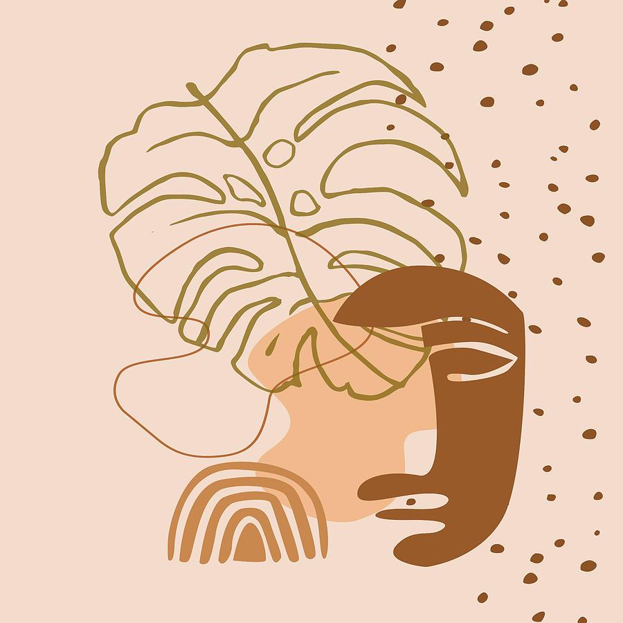 African American Digital Art - Monstera leaf african human face mask, tribal art print, rainbow dots shapes background, modern art by Mounir Khalfouf