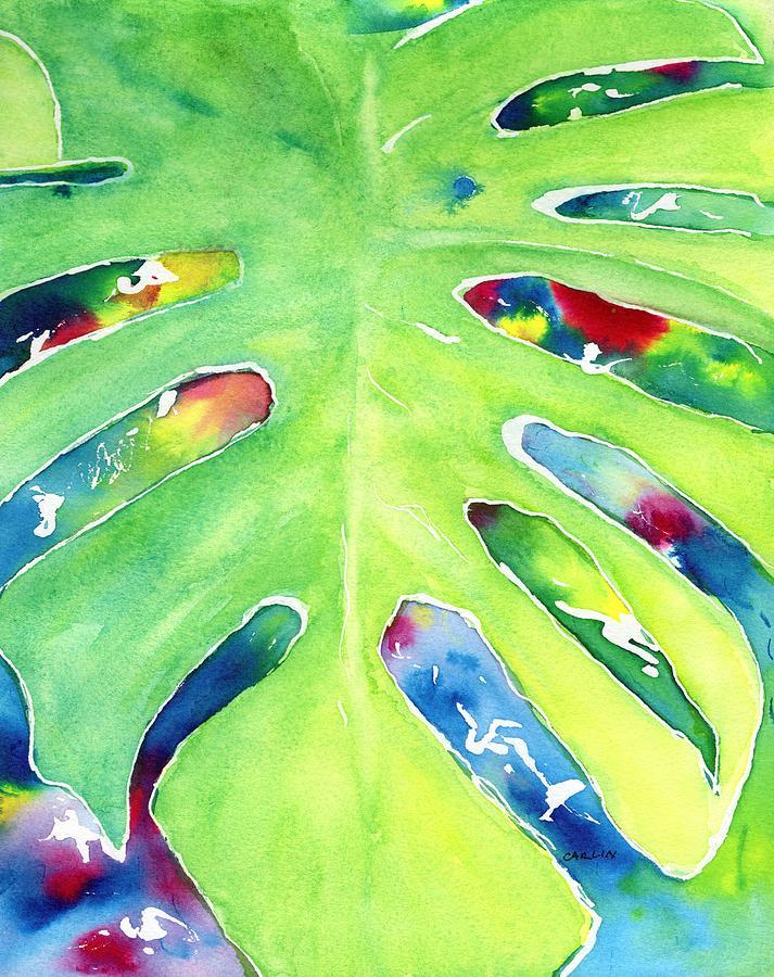 Leaf Painting - Monstera Tropical Leaves 2 by Carlin Blahnik CarlinArtWatercolor