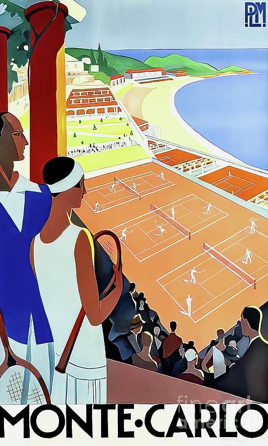 Monte Carlo Vintage Art Deco Tennis Poster 1930 Drawing