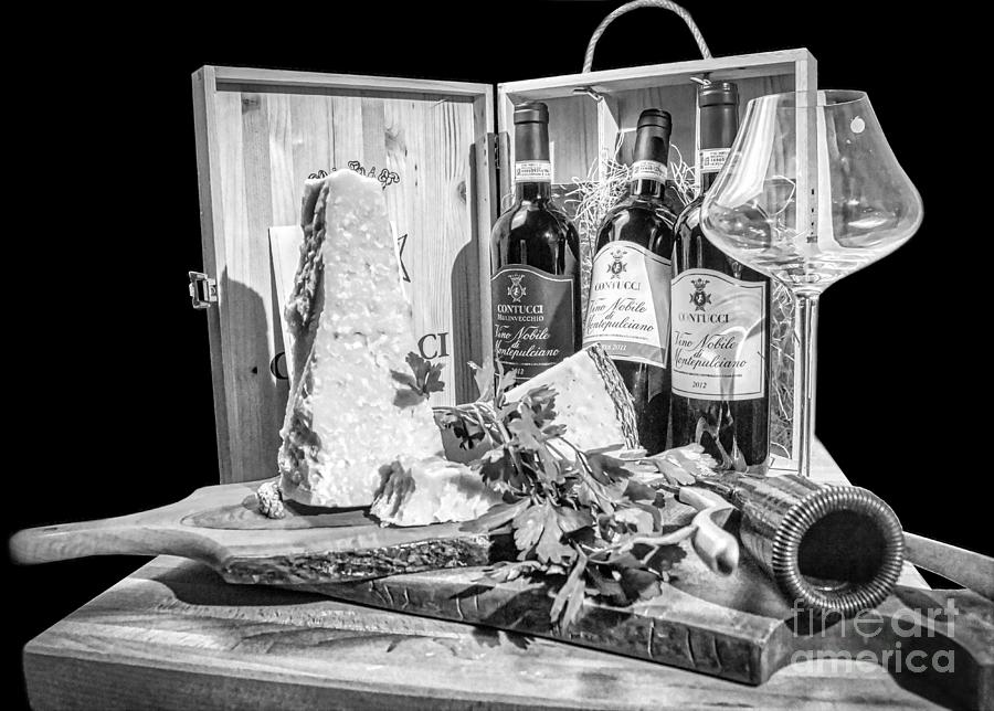 Montepulciano Photograph - Montepulciano dAbruzzo red wine and Parmigiano -Tuscany BW by Stefano Senise