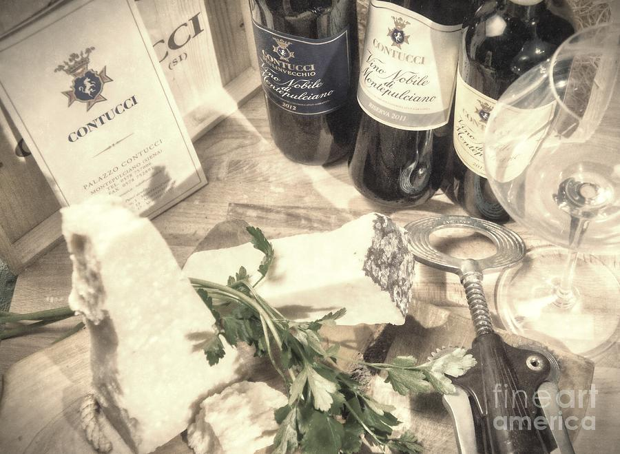 Montepulciano Photograph - Montepulciano dAbruzzo red wine and Parmigiano -Tuscany Vintage by Stefano Senise