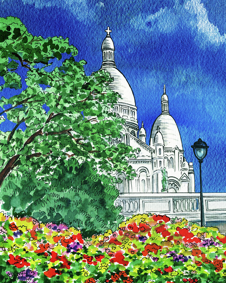 Montmartre Sacre Coeur Cathedral Paris France Watercolor Painting