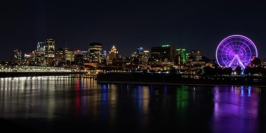 Montreal Night Skyline Old Port Photograph