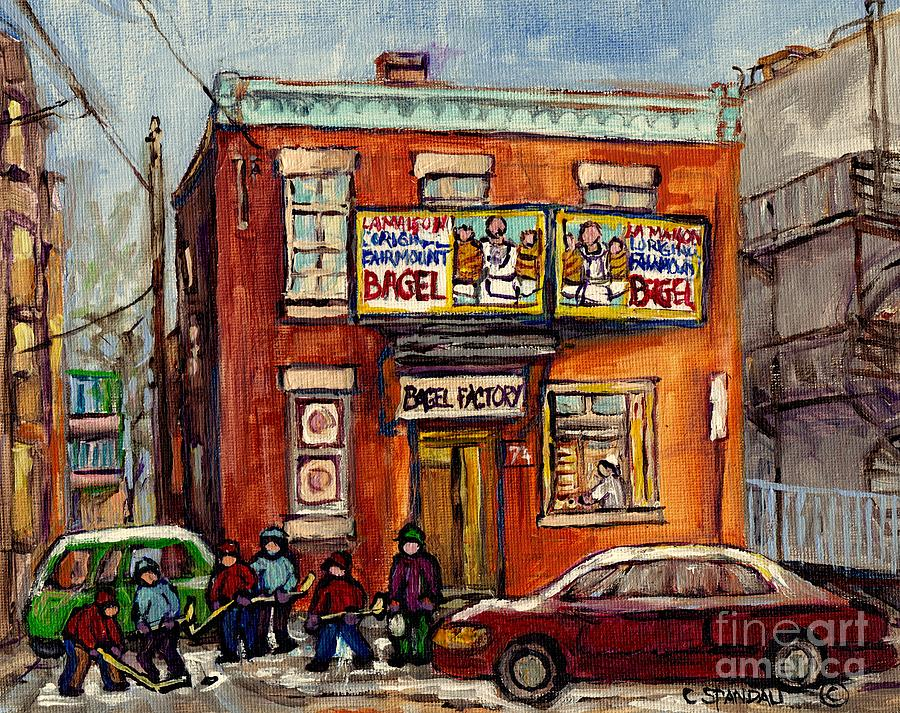 MONTREAL WINTER SCENE HOCKEY GAME AT FAIRMOUNT BAGEL FACTORY BAKERY C SPANDAU CANADIAN ARTIST        by CAROLE SPANDAU