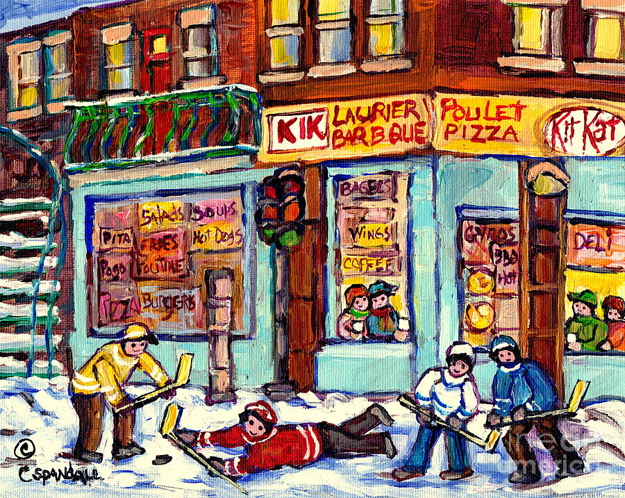 MONTREAL WINTER SCENE PAINTING HOCKEY GAME AT LAURIER BBQ C SPANDAU CANADIAN ARTIST QUEBEC ART       by CAROLE SPANDAU