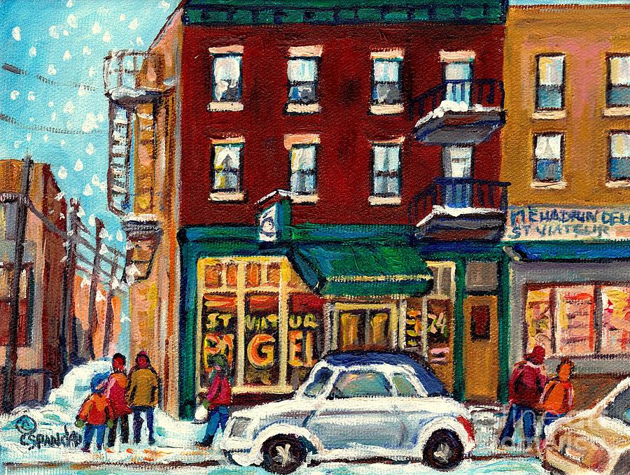 MONTREAL WINTER STREET SCENE PAINTING C SPANDAU CANADIAN ART LANDMARK STOREFRONT ST VIATEUR BAGEL  by CAROLE SPANDAU