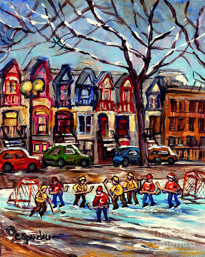 MONTREAL WINTERSCENES HOCKEY GAME AT ST LOUIS SQUARE PARK CANADIAN ART C SPANDAU CANADIAN ART QUEBEC by CAROLE SPANDAU